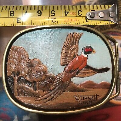 BBB Burnett 1981 Vintage Ring Neck Pheasant BELT BUCKLE Brass Tooled Leather