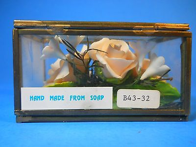 Artisan Hand made Hand-carved from Soap, Rose flower in glass box Decoration