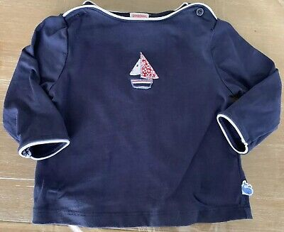 Girls Gymboree Size 3-6 Months Vintage Whale Watching Shirt Top