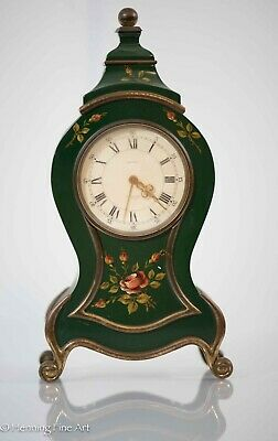 Antique Swiss Made Beyer Clock, 8 Hour Green Case w/ Hand Painted Flowers, Nice!