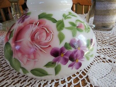 Vintage Glass Lamp Shade Hand Painted Rose Flowers