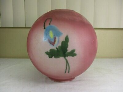 """Antique Vintage 10"""" Glass Globe Light Shade Hand Painted Textured Floral Motif"""