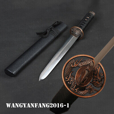 Japanese Straight Sword Carbon Steel Double Edged Knife Flying Dragon Mountings