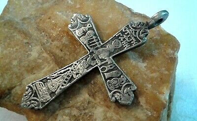 "RARE ANTIQUE c.18th CENT. LARGE RUSSIAN SILVER ORTHODOX CROSS ""LORD'S PASSION"""