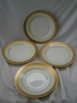 Hutschenreuther Selb SALAD Plates x 4 GOLD Sugar Lemon Cream Rim Favorite 7 3/4""