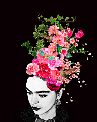 Frida Kahlo Flowers Art Print On Stretched Canvas Prints Framed Abstract Wall