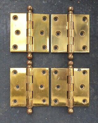 Solid Brass Hinges - Lot of 4 - Antique Ball Top Heavy 3x3 Corbin