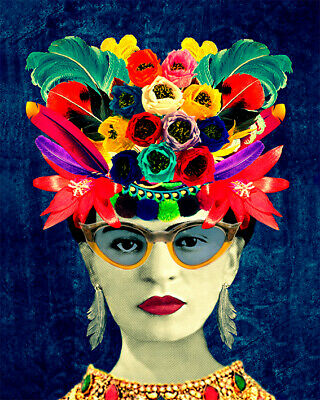 Frida Kahlo Flowers Art Print On Stretched Canvas Prints Framed Glasses Abstract