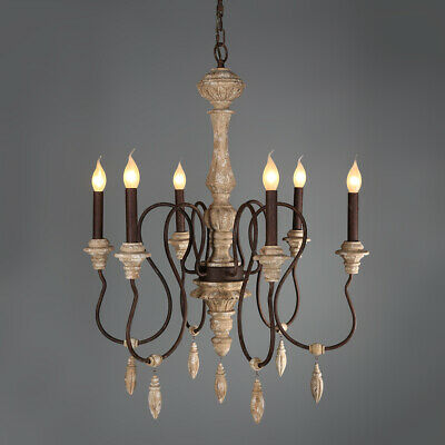 French Wood 6-Light Candelabra Chandelier Ceiling Pendant Lamp Home Lighting