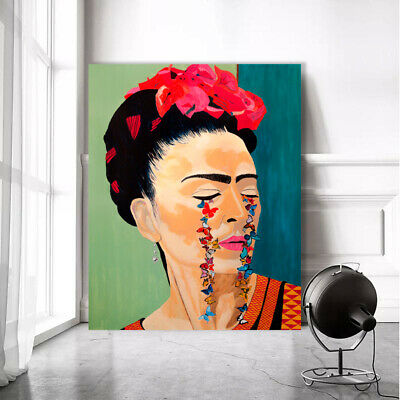Frida Kahlo Flowers Butterflies Art Print On Stretched Canvas Prints Framed Wall