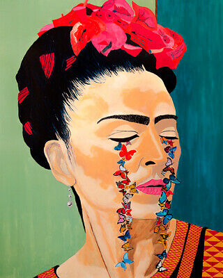 Frida Kahlo Flowers Butterflies Art Print On Stretched Canvas Prints Framed Home