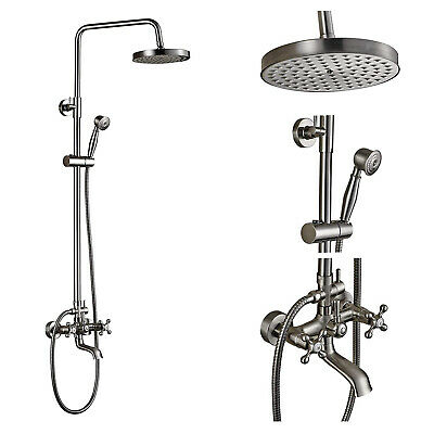 Wall Mounted Rainfall Shower Faucet Set With Hand Spray Brushed Nickel Tub Spout