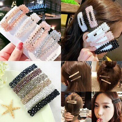HOT Crystal Beaded Hair Clip Hairband Comb Bobby Pin Barrette Hairpin Headdress