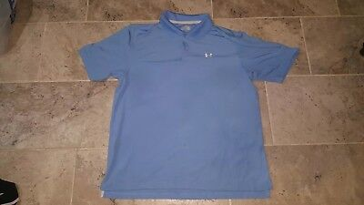 Excellent Pre Owned Condition Under Armour Heatgear Baby Blue Mens Polo Size 2Xl