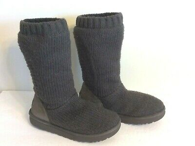5fce4625d37 UGG CAPRA RIBBED Grey Gray Knit Sheepskin Lined Tall Boots Us Size ...
