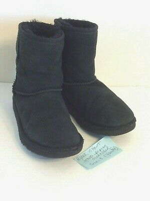 208132642f3 UGG AUSTRALIA BLACK Suede Classic Short Youth Kids Boots Size 3 s/n ...