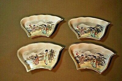Antique Hand-Painted Japanese Four Sushi Trays Mint Condition
