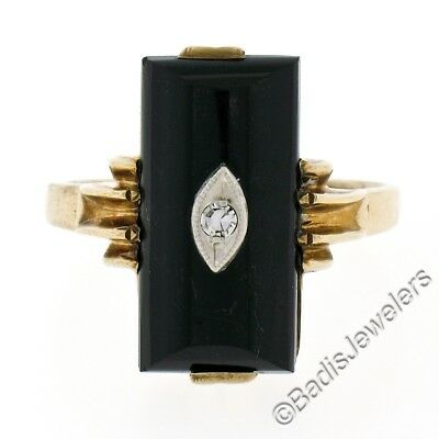 Antique Victorian 10K Gold Domed Puffed Black Onyx & Diamond Petite Etched Ring