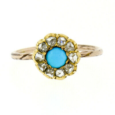 Petite Antique Victorian 15k Gold Turquoise & Rose Cut Diamond Halo Flower Ring