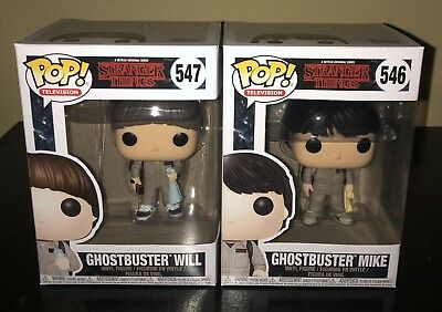 Funko Pop! Stranger Things Ghostbusters Will And Mike Lot Of 2 W/ Protectors