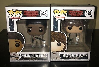 Funko Pop! Stranger Things Ghostbuster Lucas and Dustin Lot Of 2 W/ Protectors