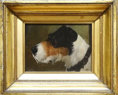 """19th Century English Dog Portrait Of """"Daisy"""" A Terrier Antique Oil Painting"""