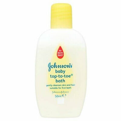 2 x Johnsons Top-To-Toe Baby Bath 50ml Each Travel Size Newborn Skin & Hair