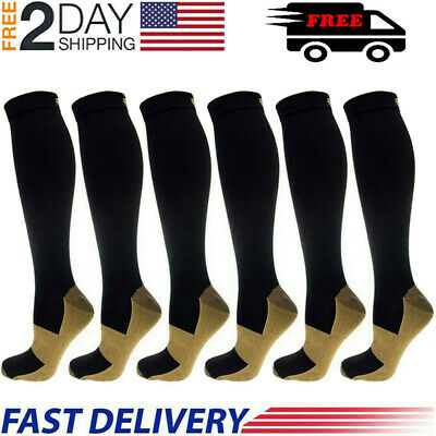 6 Pairs Copper Energy Knee High Compression Socks Pain Relief SM L/XL XXL US