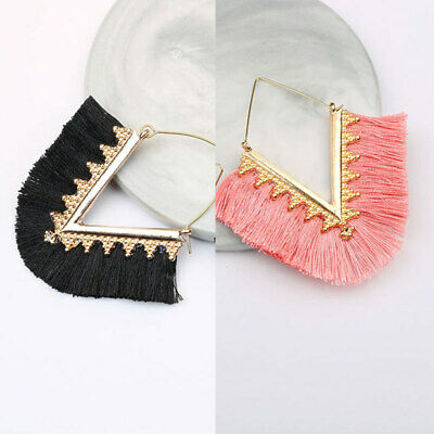 Women Ethnic Bohemian Long Tassel Fringe Boho Ear Stud Dangle Earrings Hook New