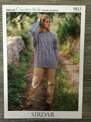 Ladies CABLE JUMPER KNITTING PATTERN Sirdar Denim Chunky chest 30-44 inch  5399