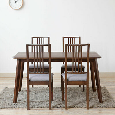 Rectangular Beech Wood Dining Table No Chair for 4 to 6 Persons Meal Walnut Laqu