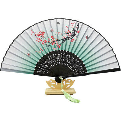 Vintage Bamboo Folding Held Flower Fan Chinese Dance Party Pocket Gift