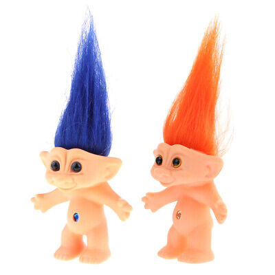 2pcs Nude Lucky Troll Doll Nude Mini Figure Toy Cake Toppers/Dollhouse Decor