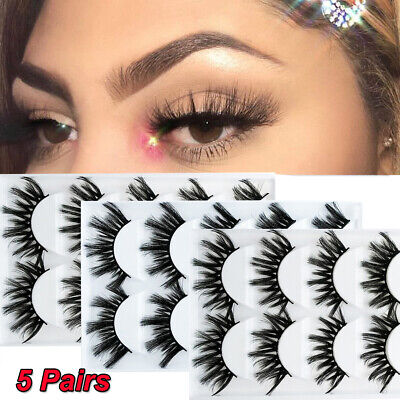 e2212c99e13 SKONHED 5 Pairs 3D Mink Hair Handmade Lashes False Eyelashes Beauty Makeup  Woman