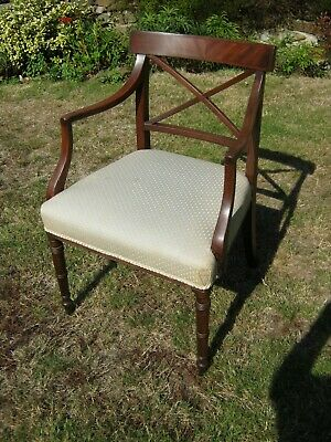 Regency Open Arm Chair with X Frame Back - Mahogany