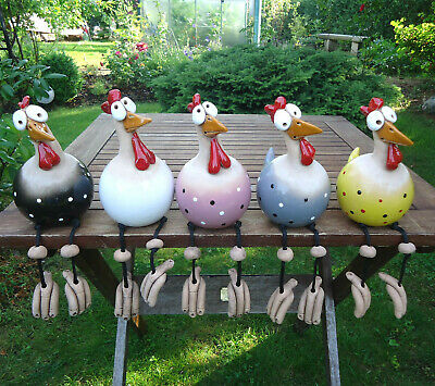 Keramik Huhn Gartenstecker Henne Hahn Hühner Vogel Kantensitzer indoor outdoor