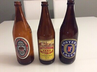 Vintage Beer Bottles - Castlemaine Xxxx, Fosters Lager, Crown Ale - Man Cave