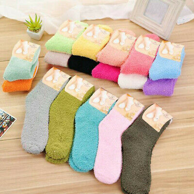 Home Women Girls Soft Bed Floor Socks Fluffy Warm Winter Pure Color Soft Socking