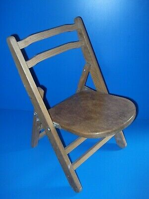 antique childs fold up chair ideal for bear/doll display