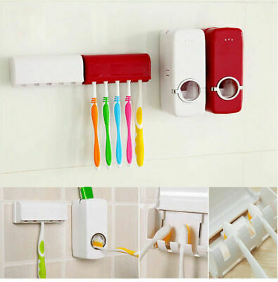 New Auto Toothpaste Dispenser Automatic+5 Toothbrush Holder Set Wall Mount Stand