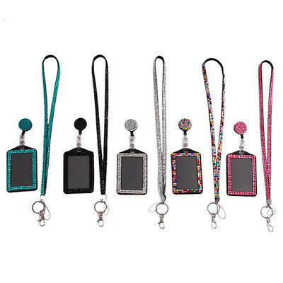 CO_ BL_ Rhinestone Neck Bling Lanyard Retractable ID Badge Reel Phone Key Holder