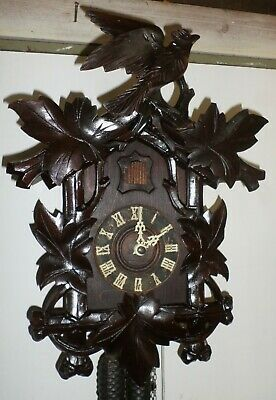Stunning Rare Antique German Black Forest Deeply Carved Distressed Cuckoo Clock!