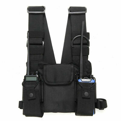 Chest Front Pack Pouch Holster Vest Accessory For Two Way Radio Walkie Talkie