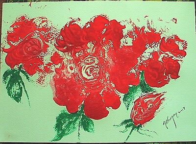 Acrylic painting of Red Roses,Abstract,contemporary,sgnd.original,new,unframed
