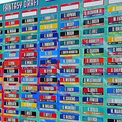 2019 Fantasy Football Draft board with 400 Player + Labels alphabetized +Yellow