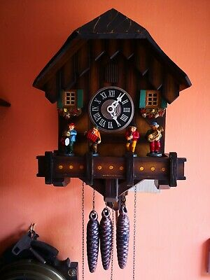 Vintage Musical Cuckoo Clock With Moving Umpar Band