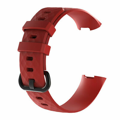 Red Silicone Band Strap Buckle For Fitbit Charge 3 Replacement