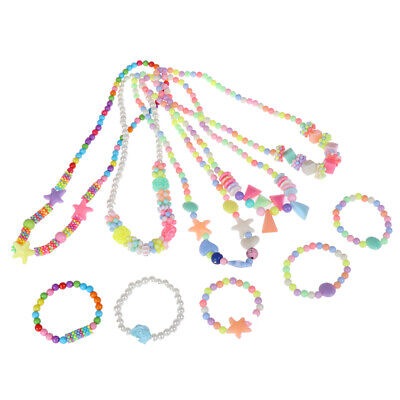 1Set new child beads necklace colorful girls bubblegum handmade for kids toy UK