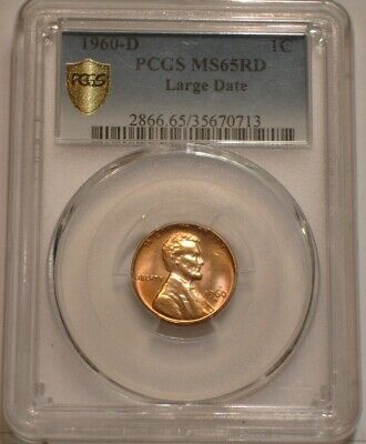 1960 D large date Lincoln Cent PCGS MS 65 RD RED GEM BU Secure Shield Holder