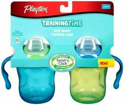 Playtex 2-Pack Stage 1 Sipsters Soft Spout 6 oz Training Cups 4M+ Blue/Green